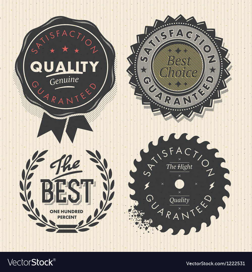 Vintage set premium quality and guarantee labels vector | Price: 1 Credit (USD $1)