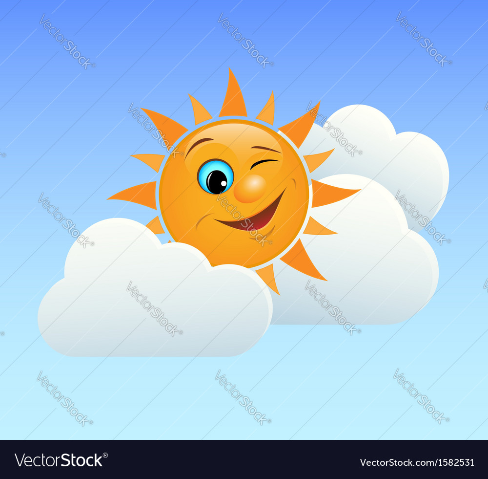 Winking sun vector | Price: 1 Credit (USD $1)