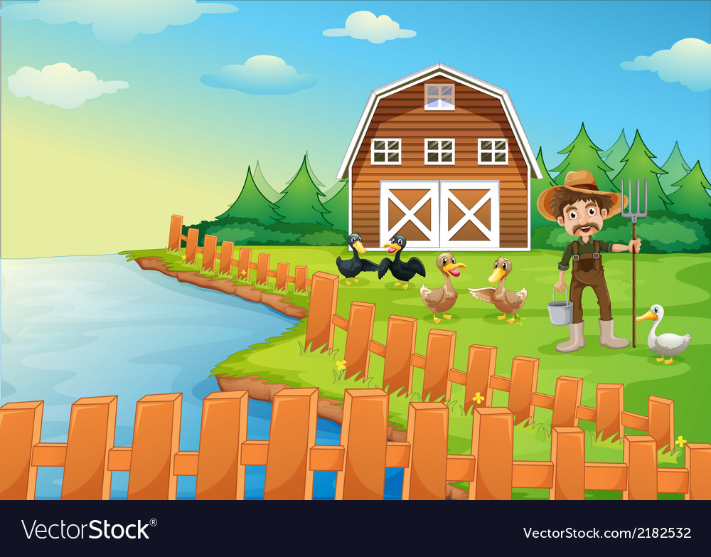 A farmer feeding his ducks vector | Price: 3 Credit (USD $3)