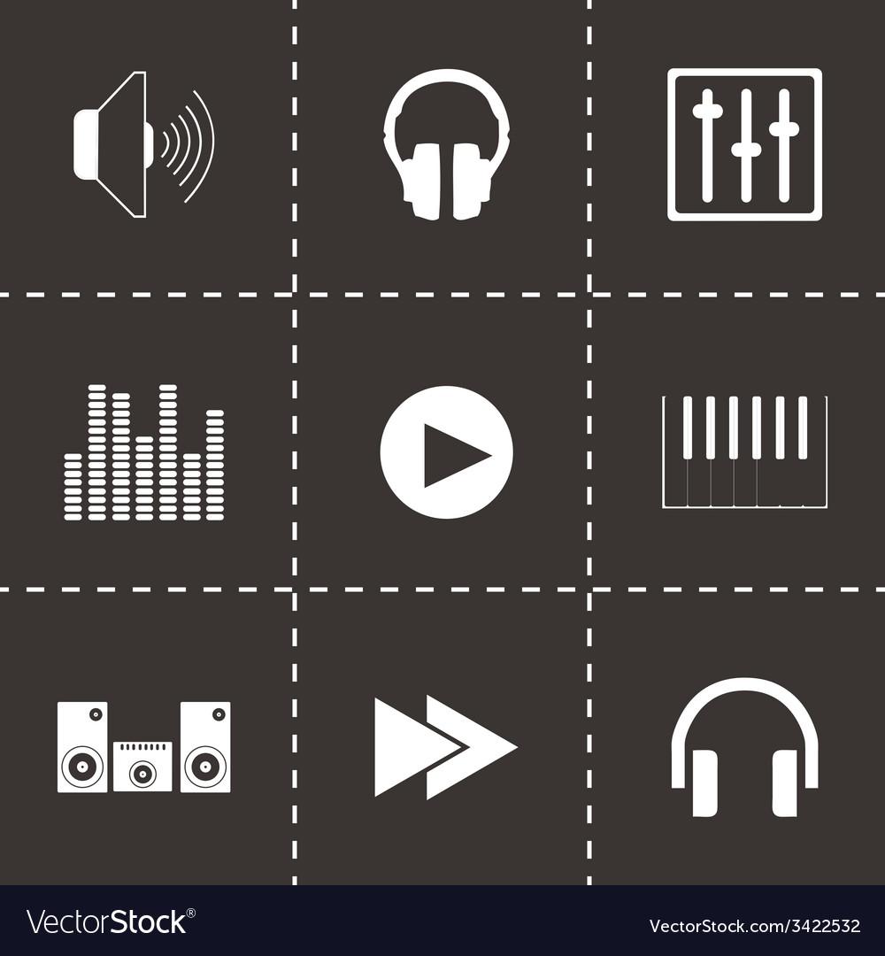 Black sound icons set vector | Price: 1 Credit (USD $1)