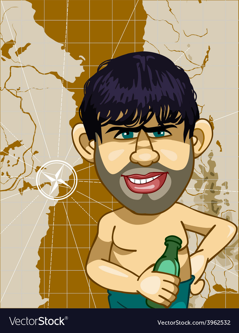 Caricature a man with a bottle on a background map vector | Price: 3 Credit (USD $3)