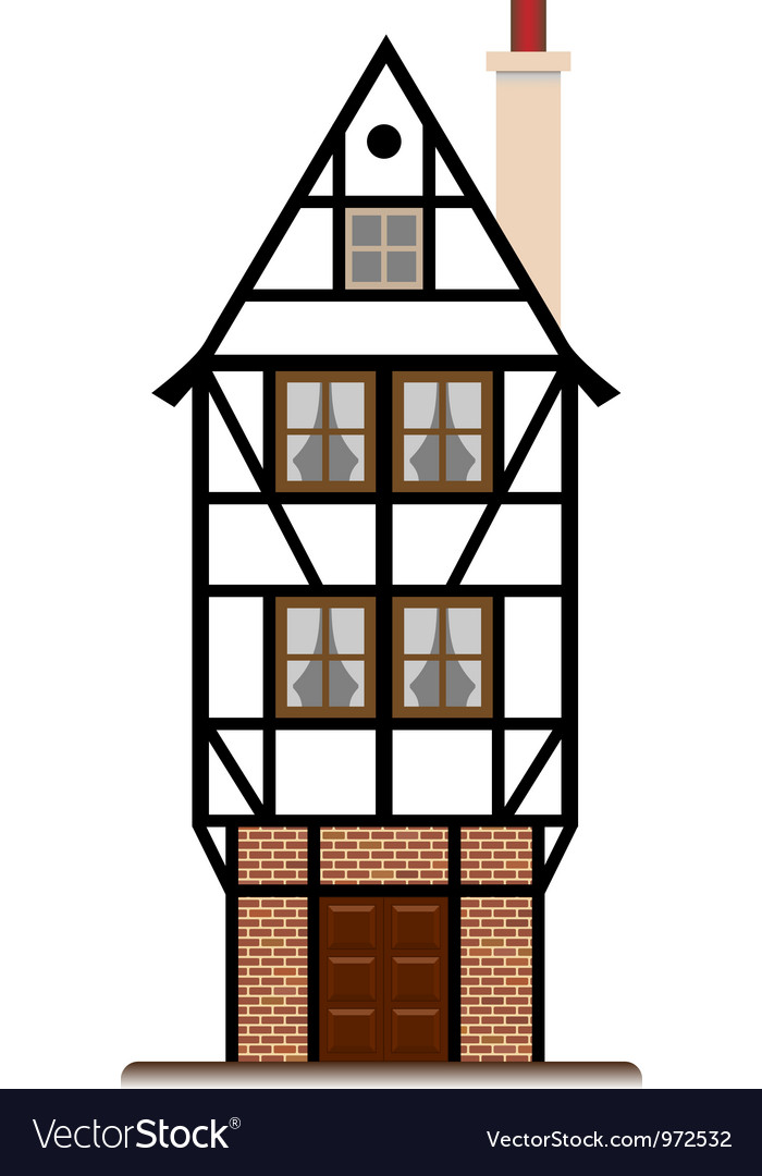 Fachwerk house traditional cottage isolated vector | Price: 1 Credit (USD $1)