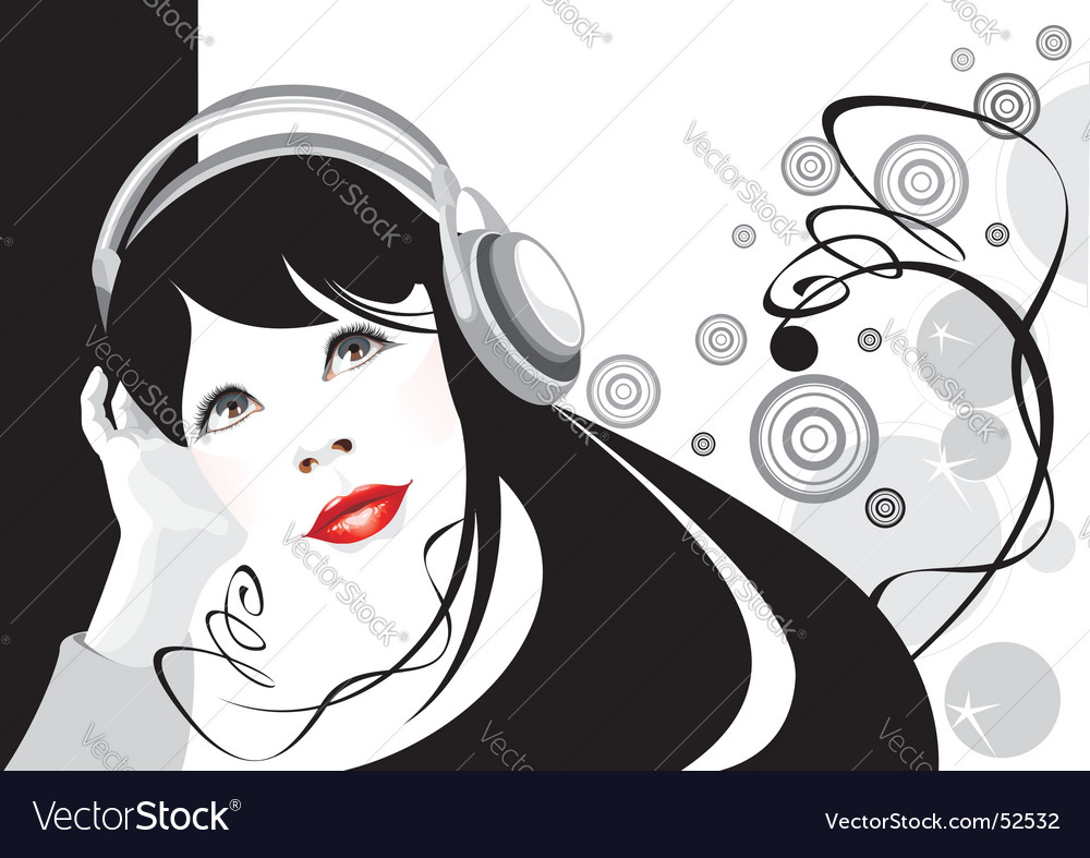 Girl listens to music vector | Price:  Credit (USD $)
