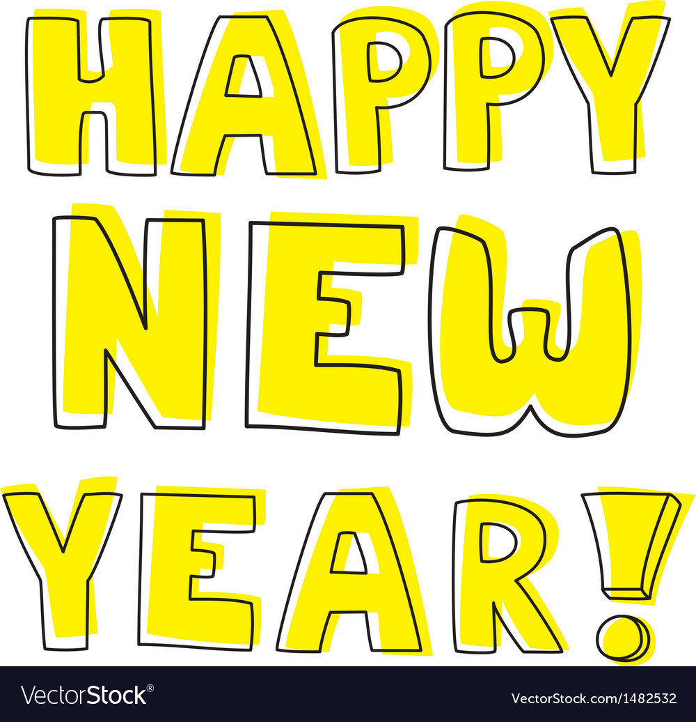 Happy new year hand drawn yellow wishes vector | Price: 1 Credit (USD $1)