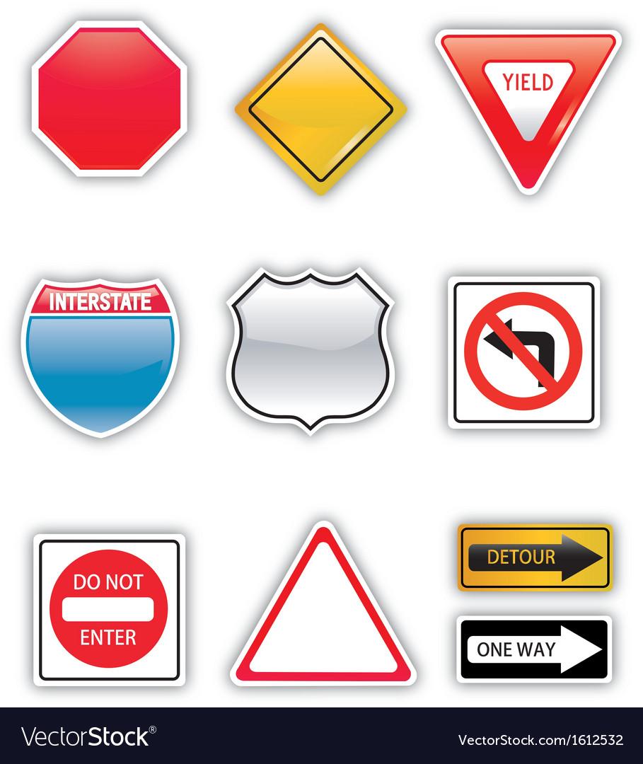 Road signs set vector | Price: 1 Credit (USD $1)