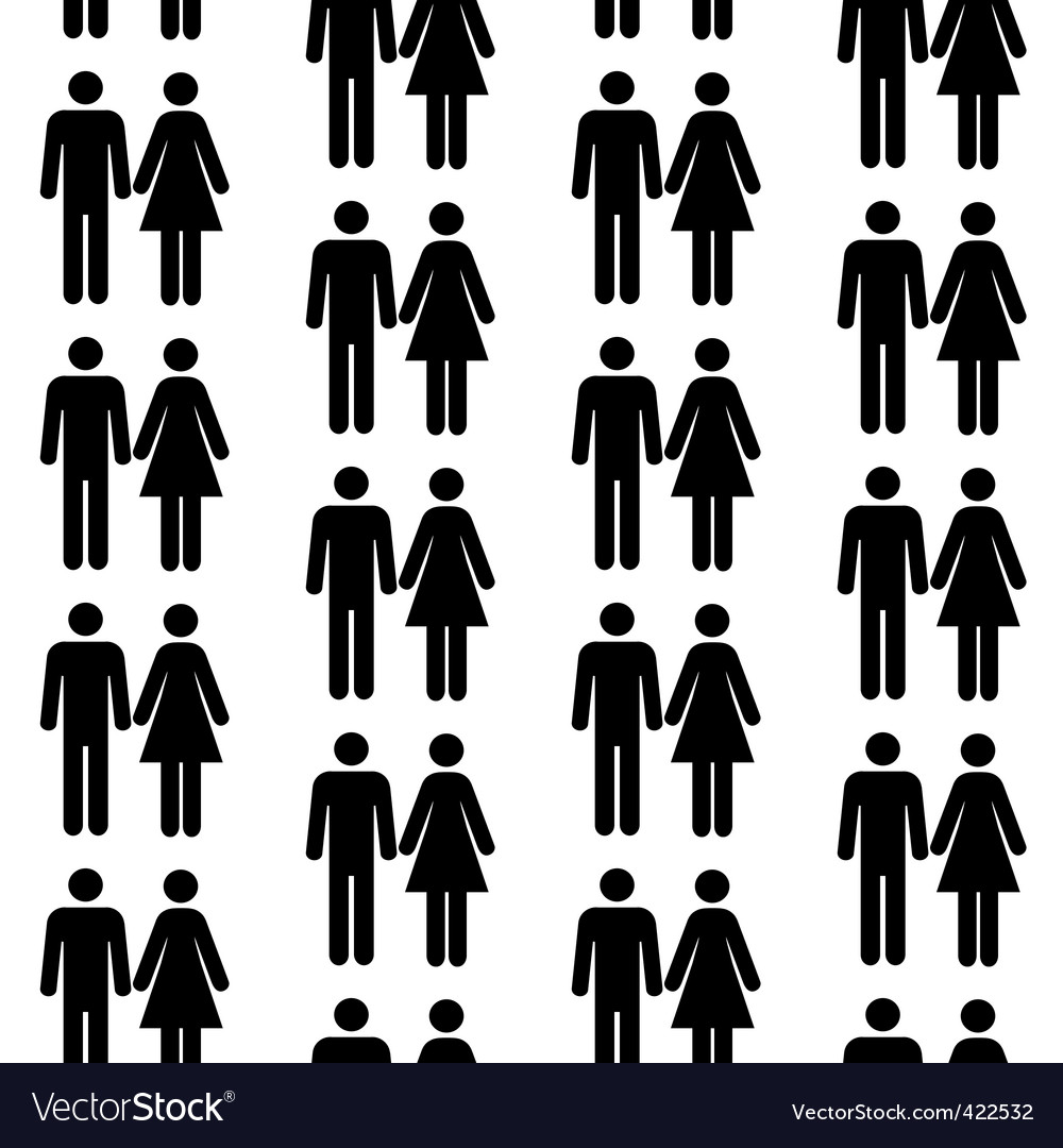 Seamless pattern with people silhouettes vector