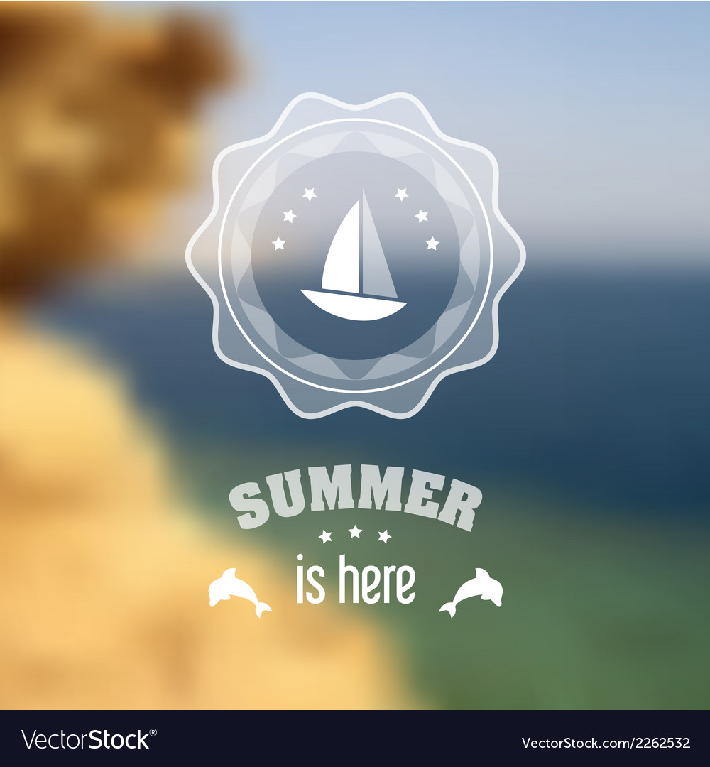 Seaside blurred landscape with summer symbols vector | Price: 1 Credit (USD $1)