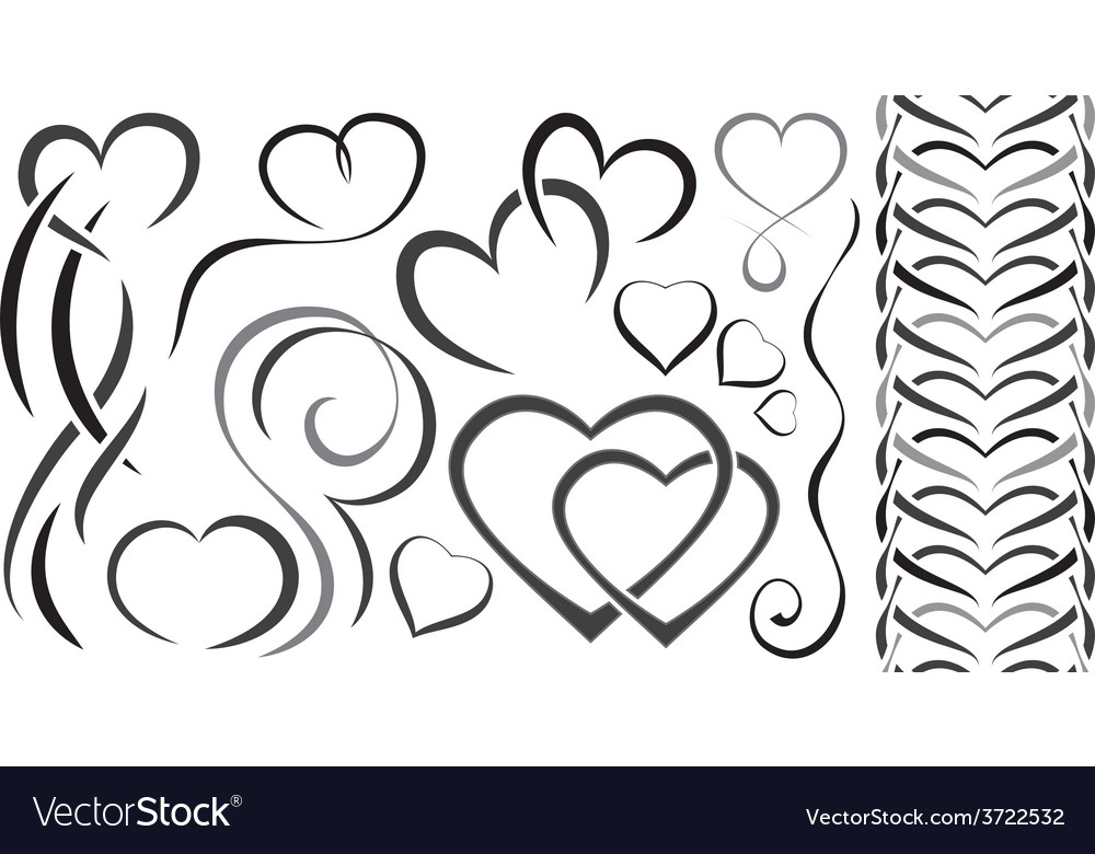 Set of elements design for valentines day hearts vector | Price: 1 Credit (USD $1)