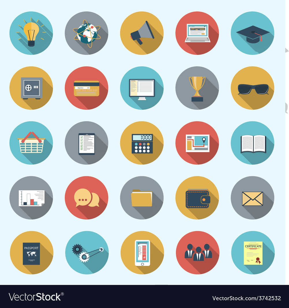 Set of modern icons in flat design vector | Price: 1 Credit (USD $1)