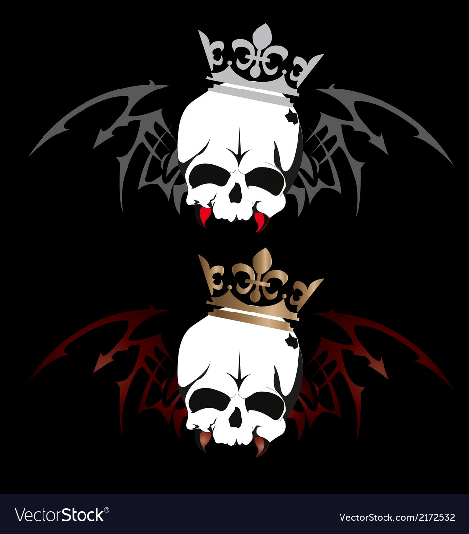 Skull wings with crown tattoo design on white bac vector | Price: 1 Credit (USD $1)
