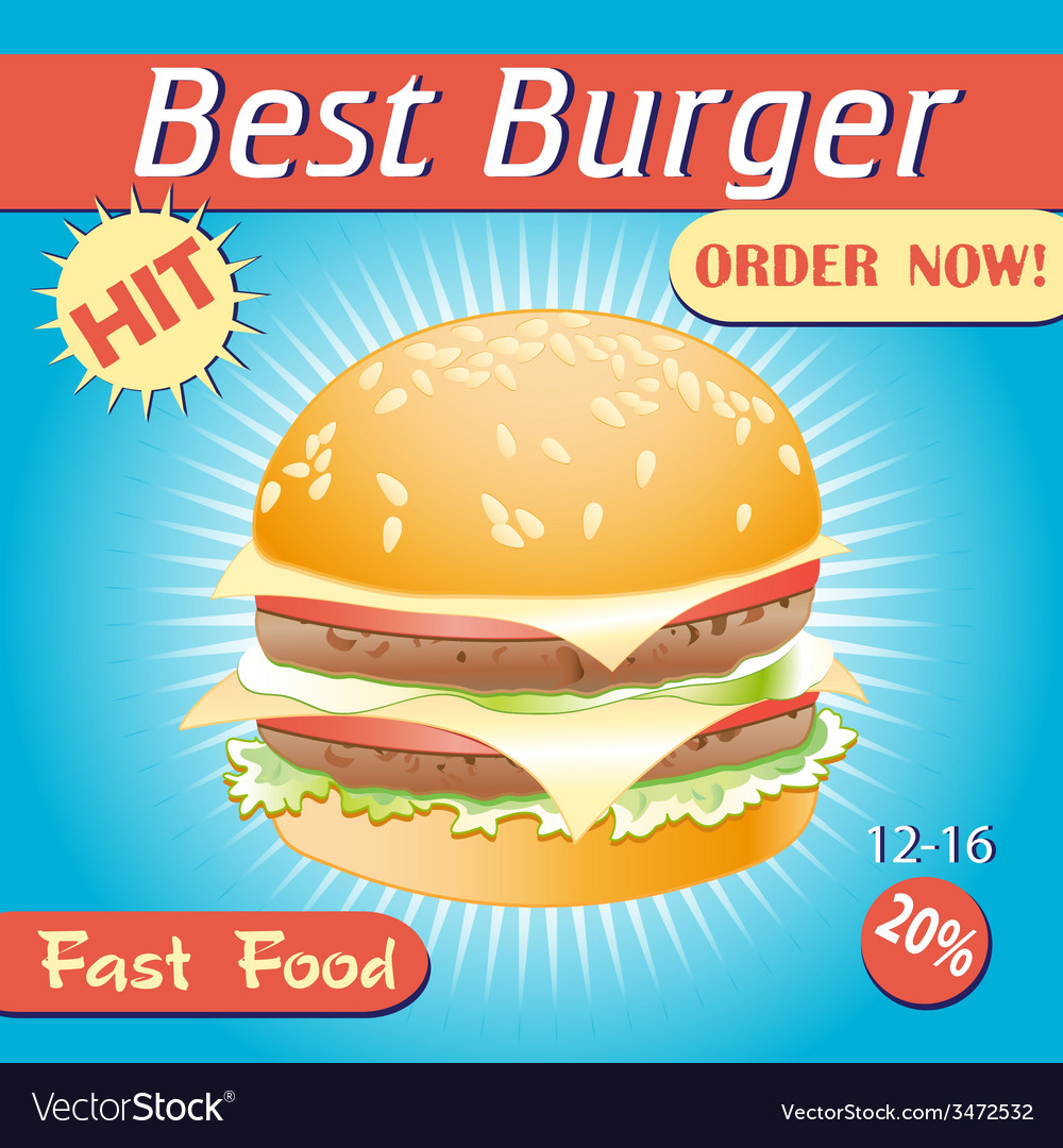Tasty burger vector | Price: 1 Credit (USD $1)