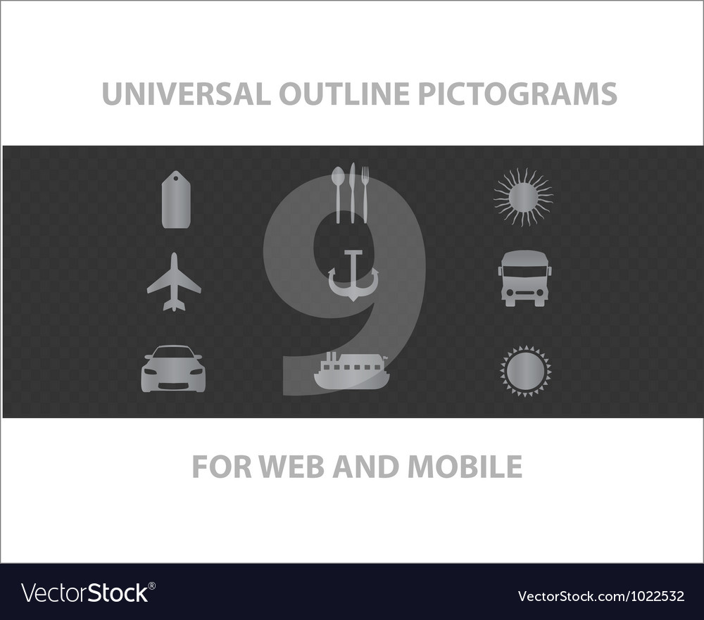 Web universal outline symbols vector | Price: 1 Credit (USD $1)