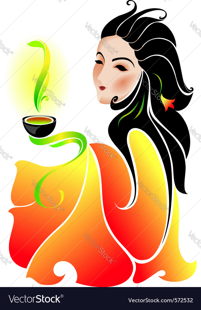Woman drinking tea vector | Price: 1 Credit (USD $1)