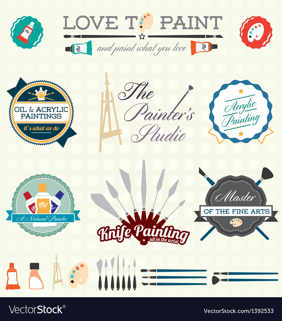 Artist painter labels and icons vector | Price: 3 Credit (USD $3)