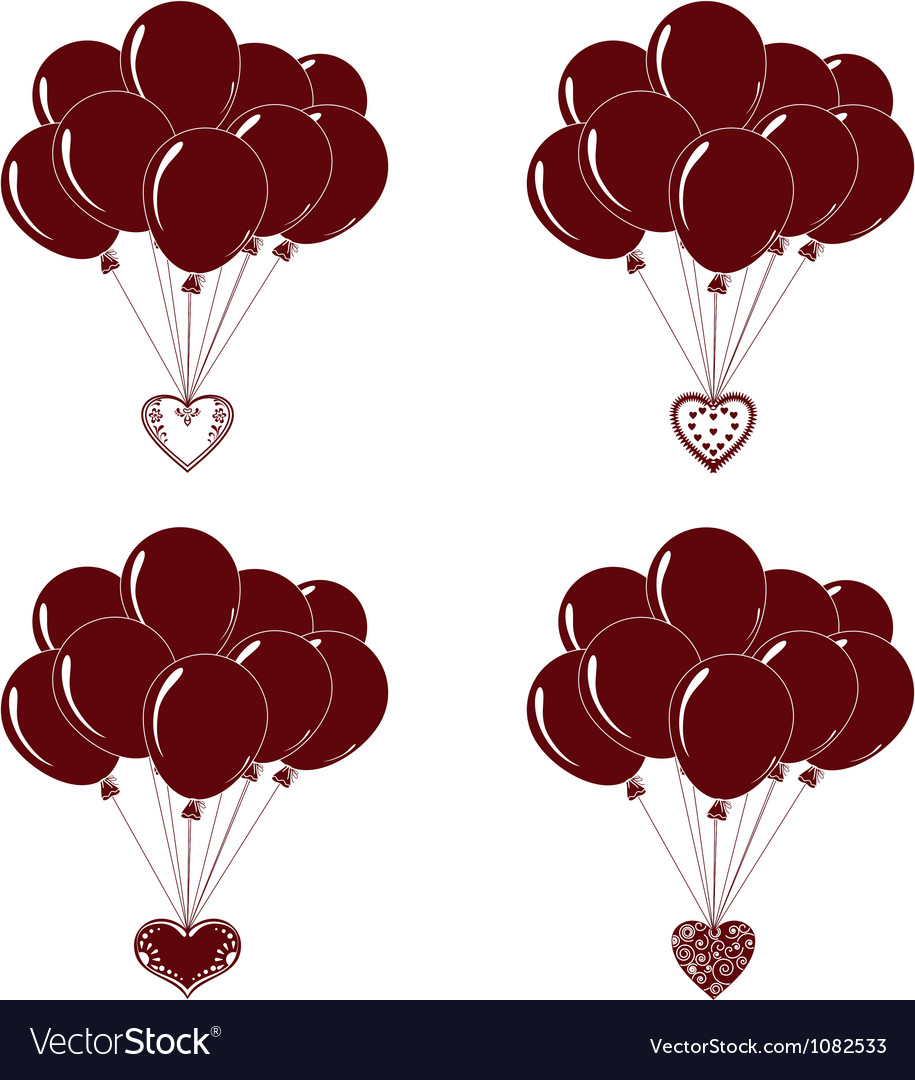 Balloons bunches silhouette set vector | Price: 1 Credit (USD $1)