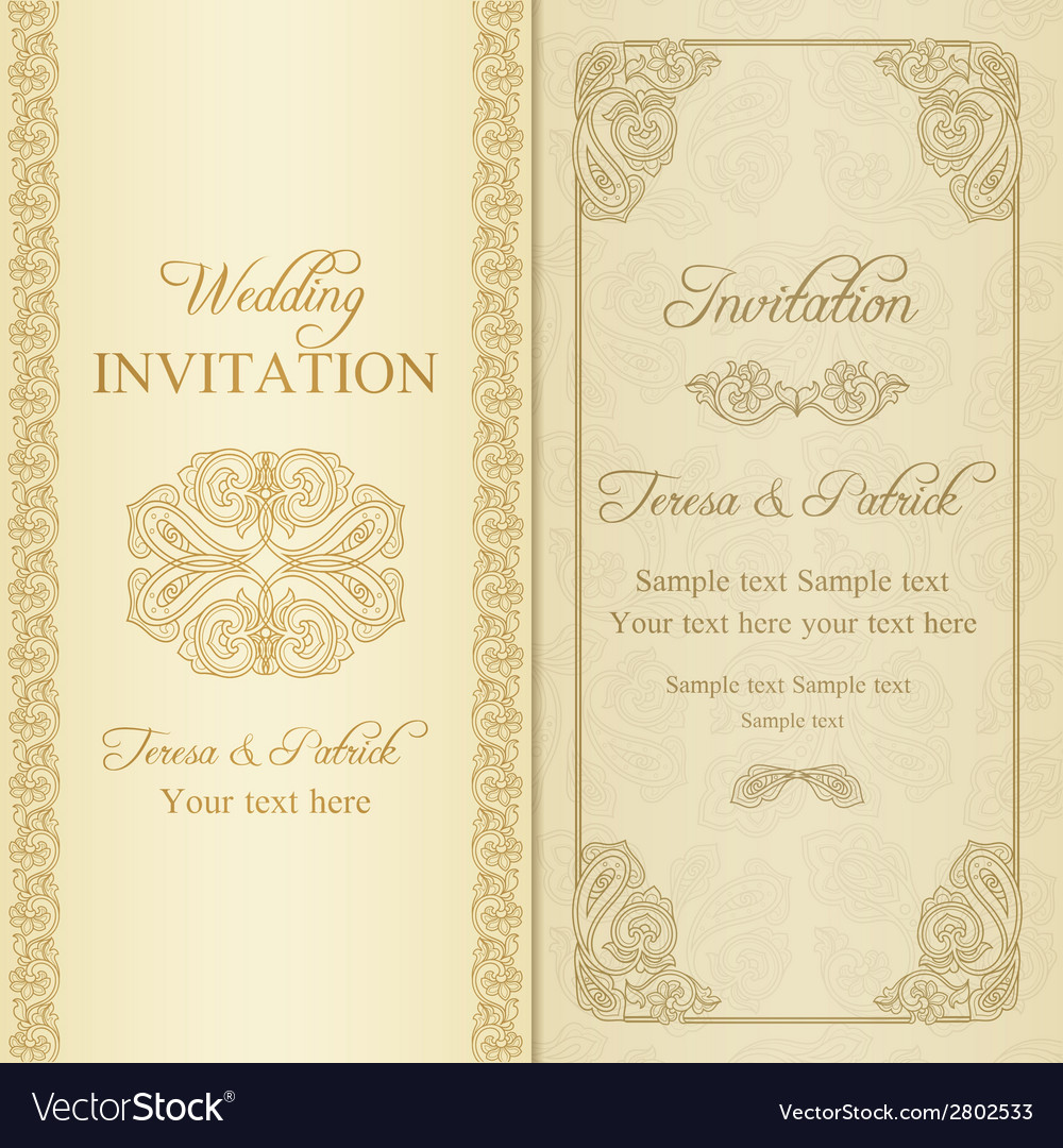 Baroque wedding invitation gold vector | Price: 1 Credit (USD $1)