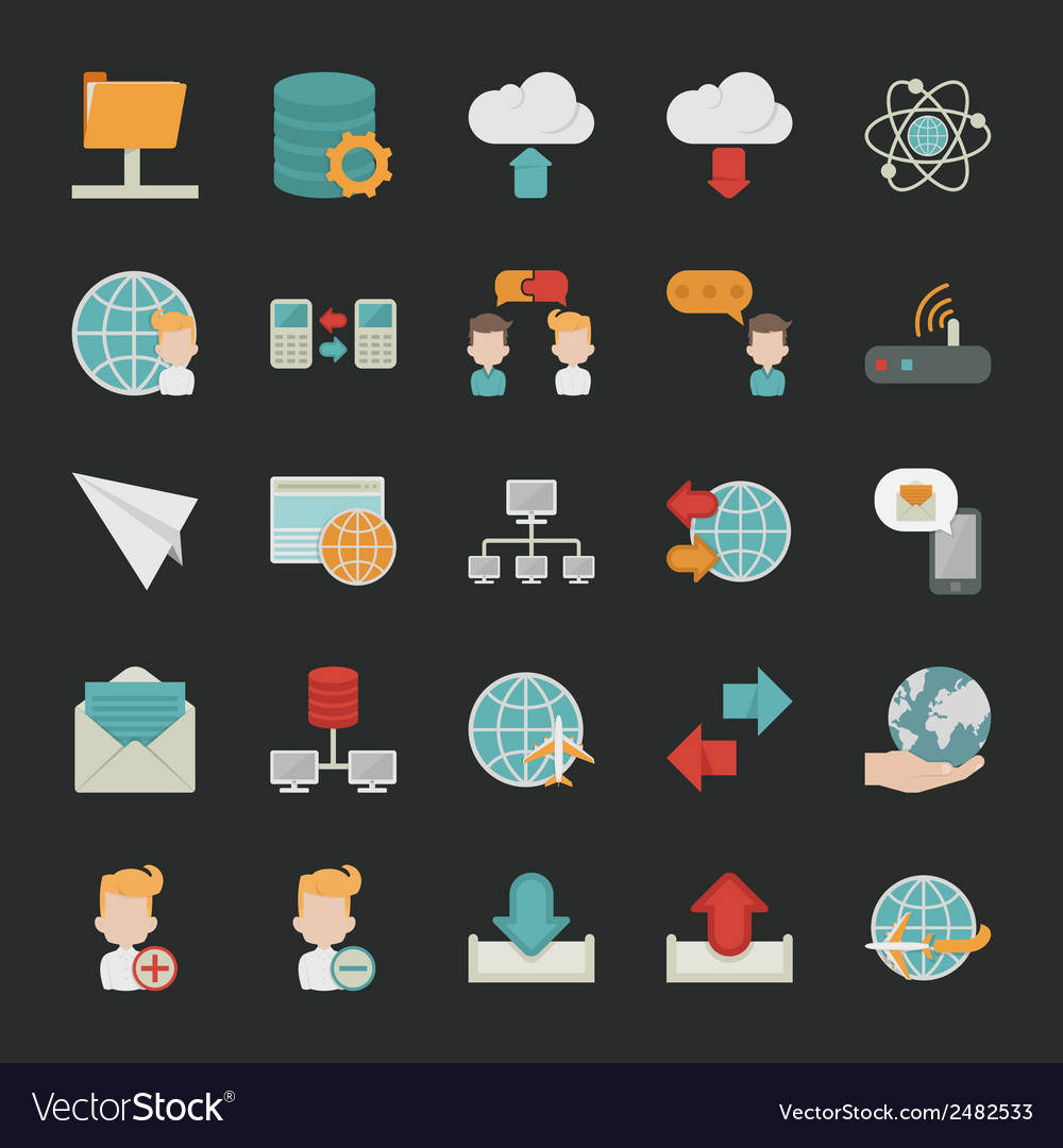 Communication icons with black background vector | Price: 1 Credit (USD $1)