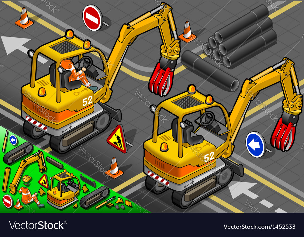 Isometric mini mechanical arm excavator in rear vector | Price: 1 Credit (USD $1)