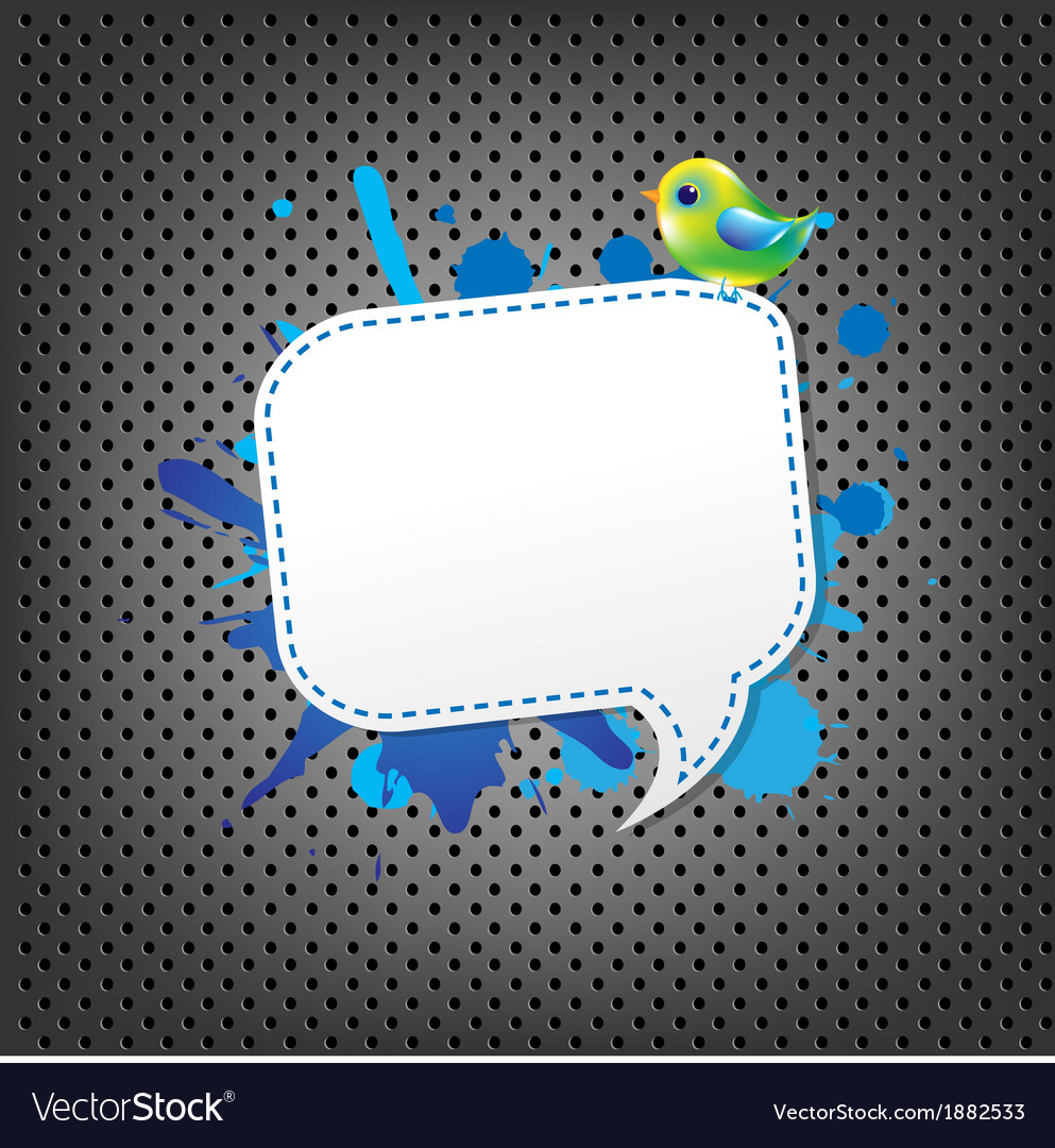 Metal background with speech bubble and bird vector | Price: 1 Credit (USD $1)