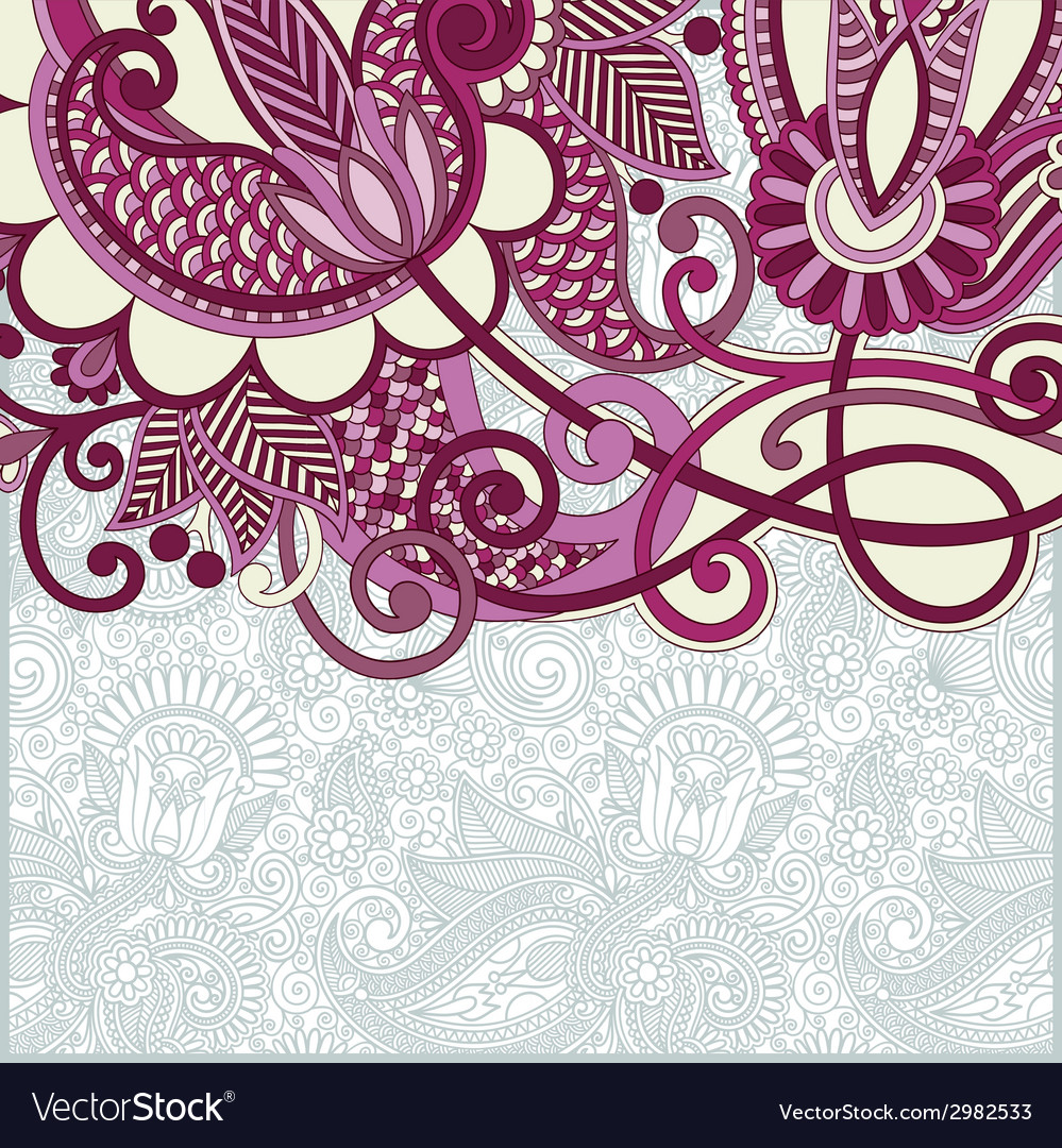 Ornate floral card announcement vector | Price: 1 Credit (USD $1)
