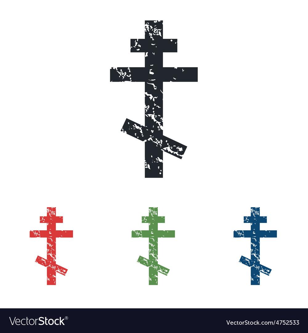 Orthodox cross grunge icon set vector | Price: 1 Credit (USD $1)