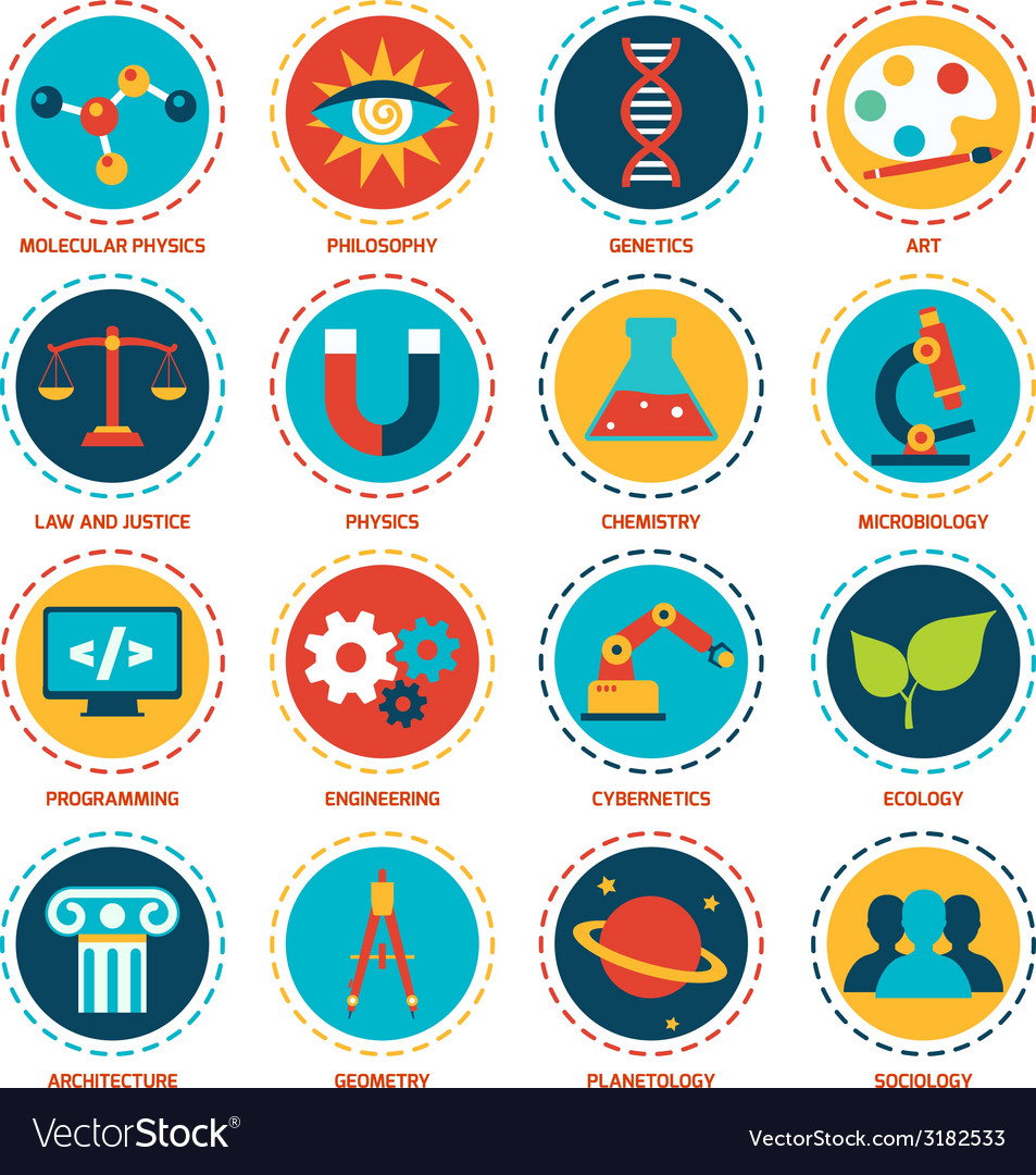 Science areas icons vector   Price: 1 Credit (USD $1)