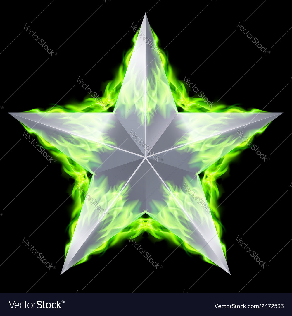 Silver star aflame vector | Price: 1 Credit (USD $1)