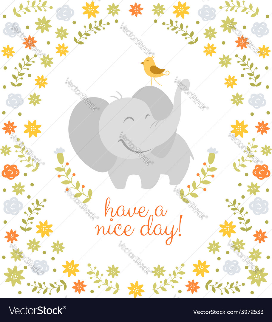 Smiling elephant on floral background vector | Price: 1 Credit (USD $1)