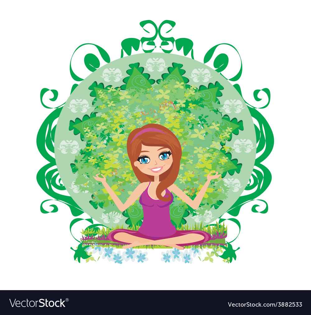 Yoga girl in lotus position vector | Price: 1 Credit (USD $1)