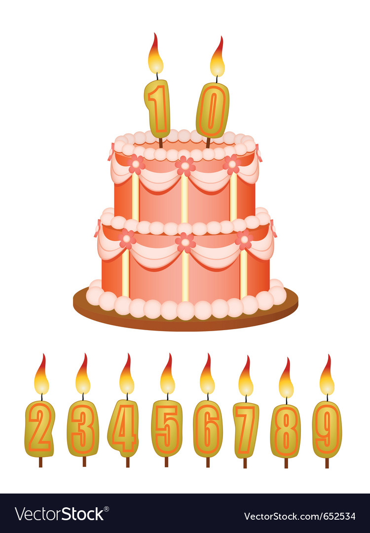 Anniversary cake with candles vector | Price: 1 Credit (USD $1)