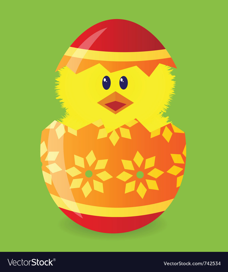 Easter egg with chick vector | Price: 1 Credit (USD $1)
