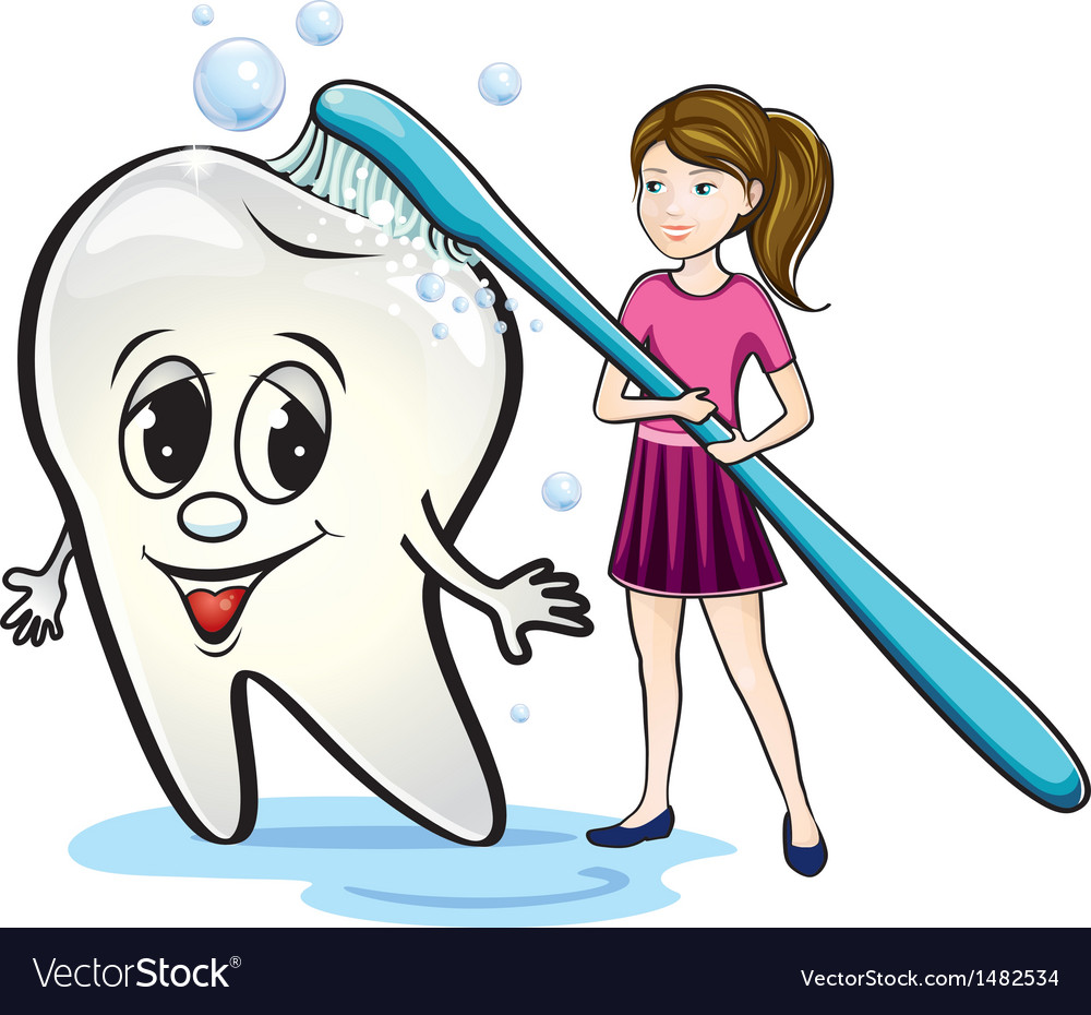 Girl brushing teeth vector | Price: 3 Credit (USD $3)