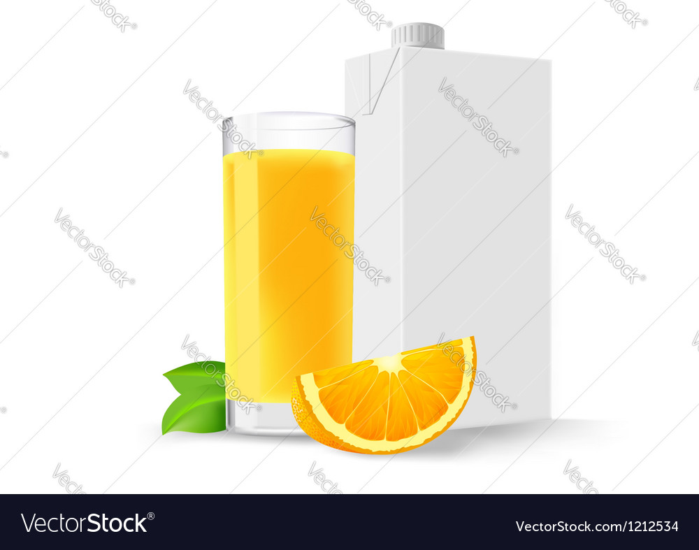 Glass of orange juice and a slice of orange and a vector | Price: 1 Credit (USD $1)