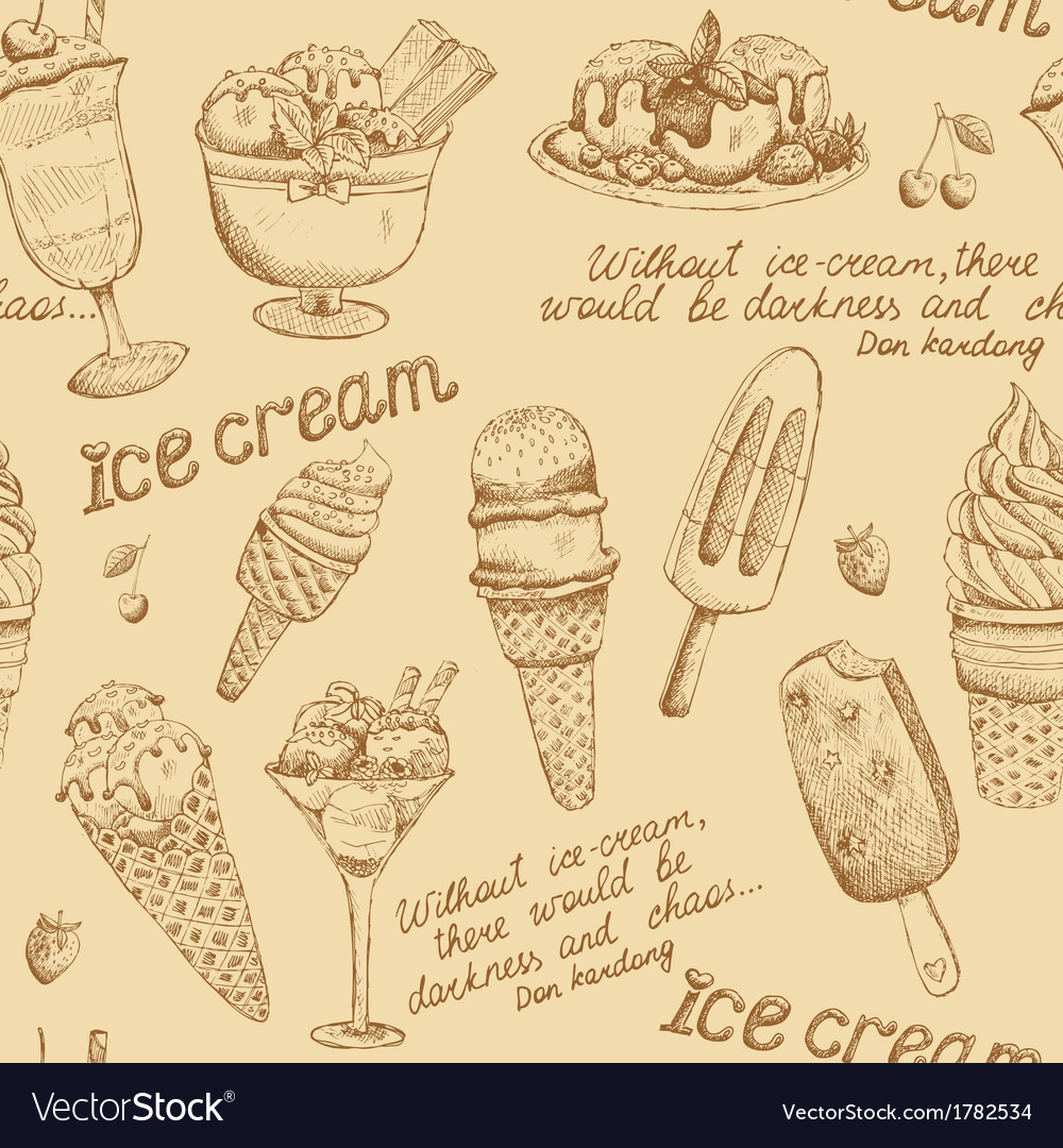 Ice cream vintage pattern vector | Price: 1 Credit (USD $1)