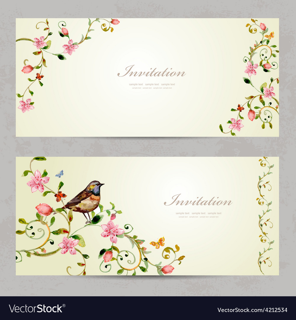 Invitation cards with foliate ornament and flowers vector | Price: 1 Credit (USD $1)