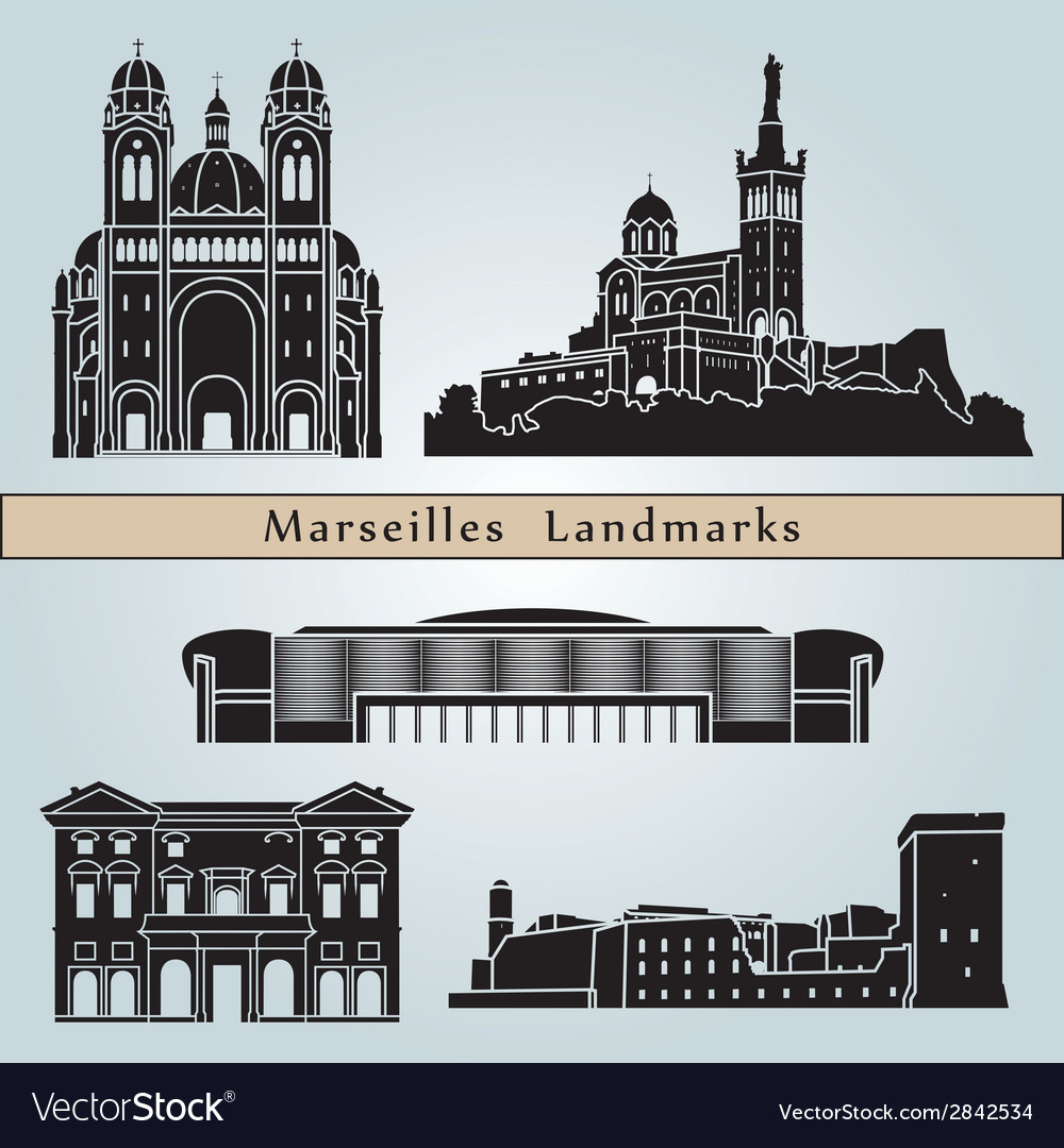 Marseilles landmarks and monuments vector | Price: 1 Credit (USD $1)