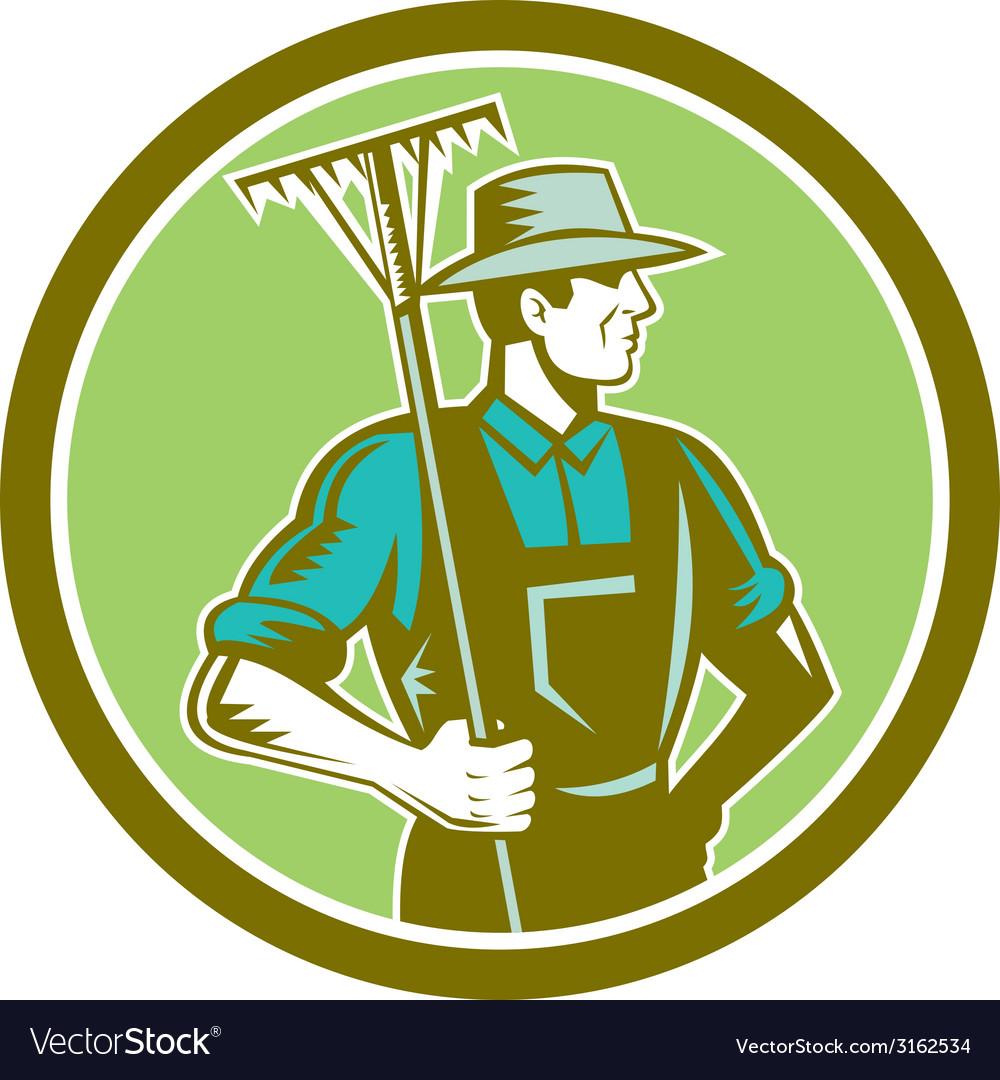 Organic farmer rake woodcut retro vector | Price: 1 Credit (USD $1)