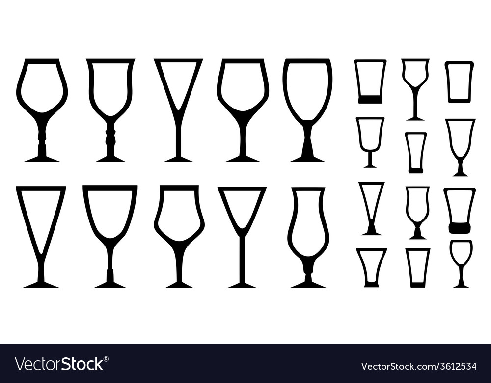 Set isolated alcohol glass icons vector | Price: 1 Credit (USD $1)