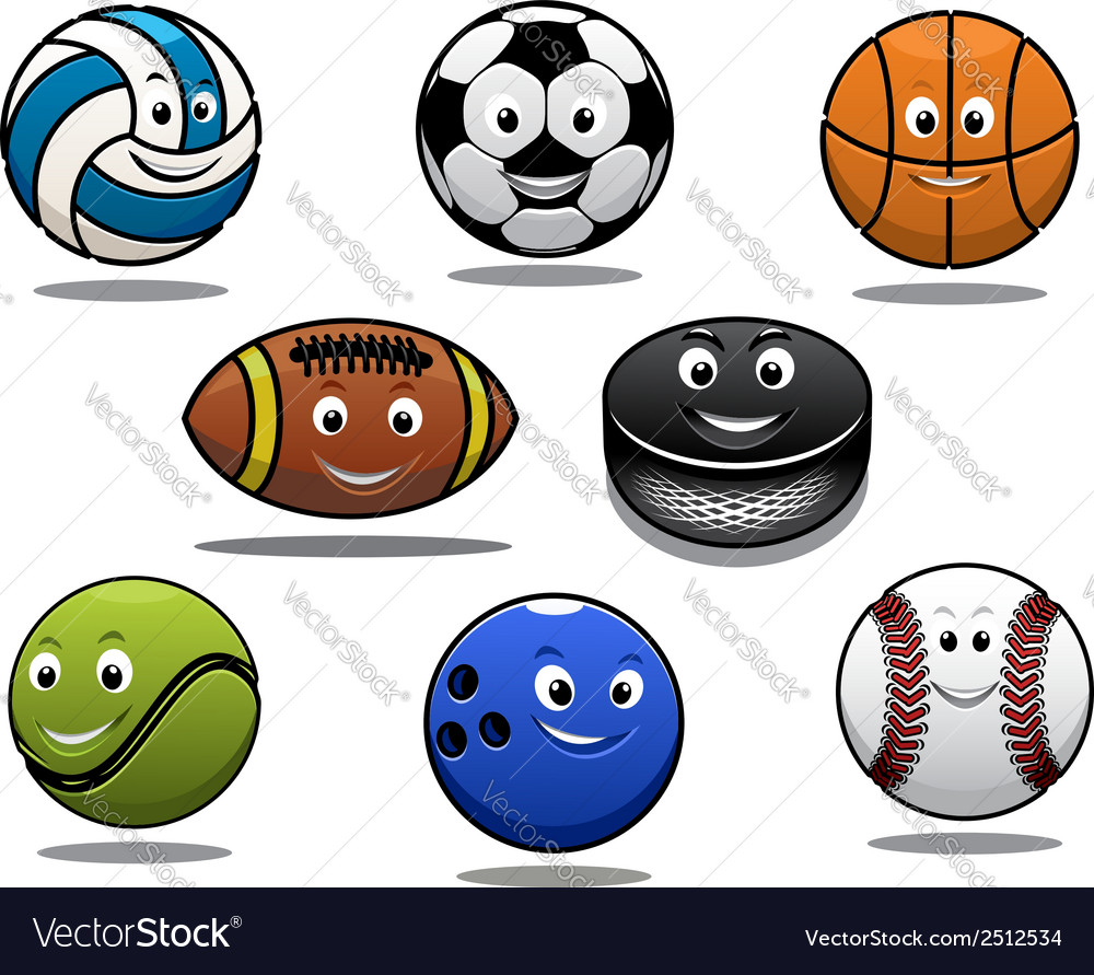 Set of cartoon sports balls equipment vector | Price: 1 Credit (USD $1)