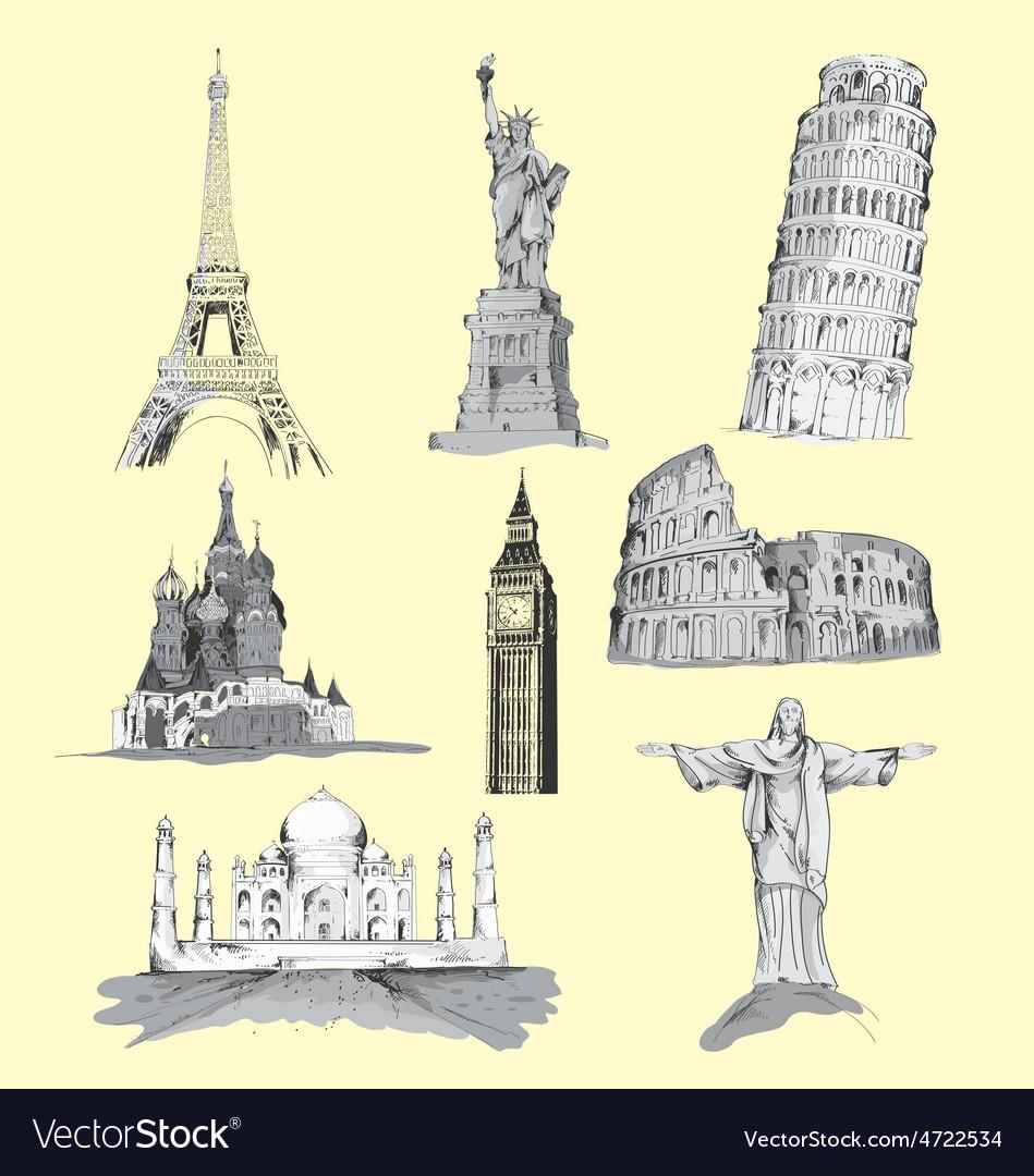 World travel landmarks hand drawn vector   Price: 1 Credit (USD $1)