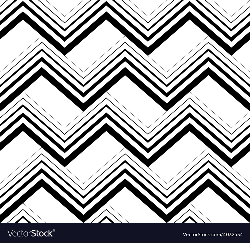 Zig zag black and white geometric seamless pattern vector | Price: 1 Credit (USD $1)