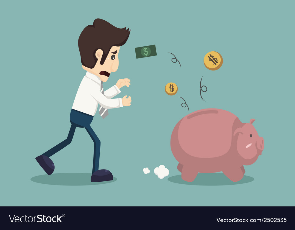 Businessman lose money vector | Price: 1 Credit (USD $1)