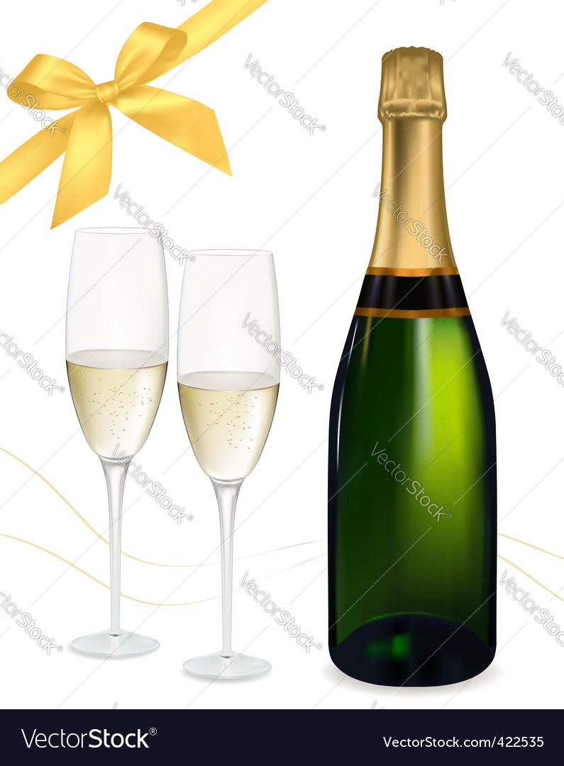 Champagne with glasses and bows vector | Price: 1 Credit (USD $1)