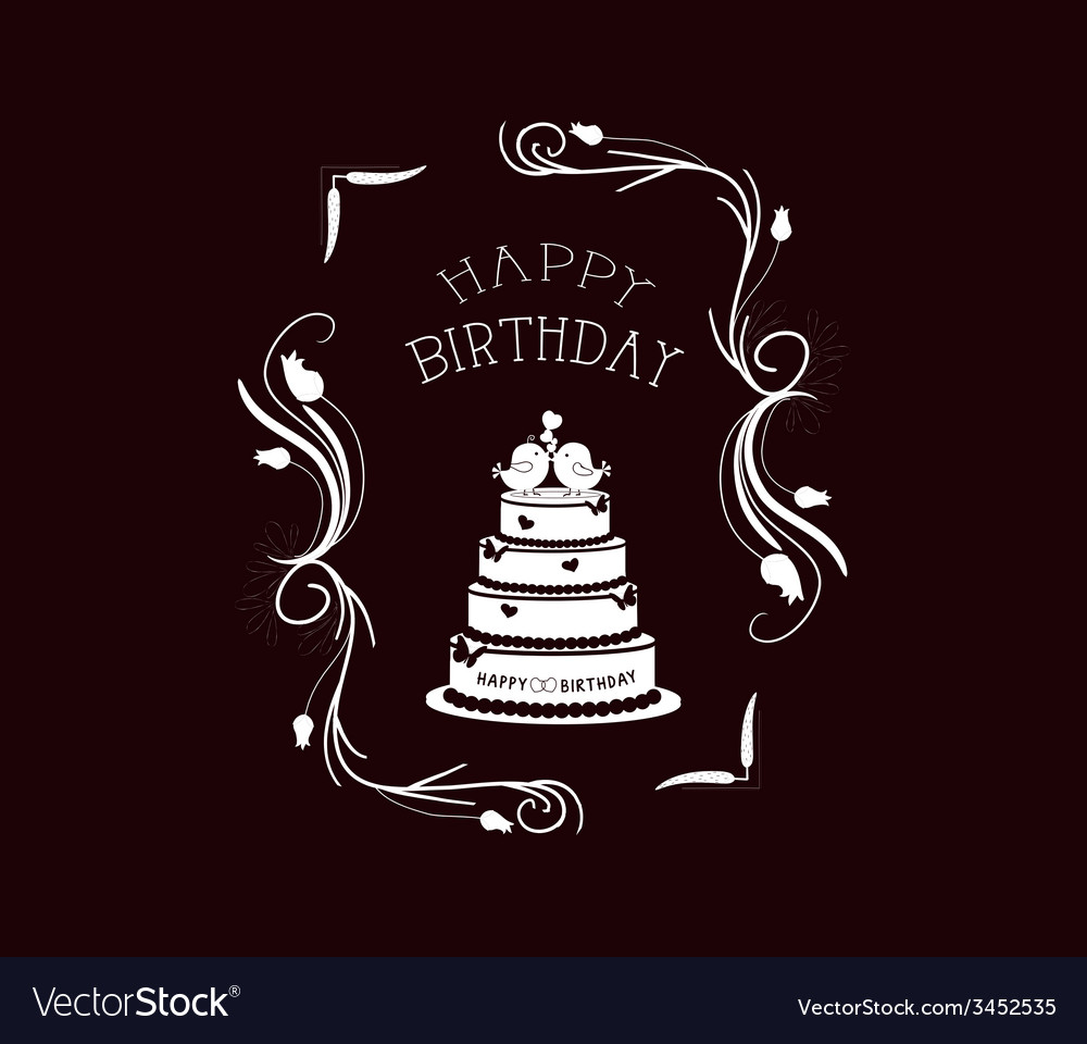 Happy birthday vintage frames and floral ornaments vector   Price: 1 Credit (USD $1)