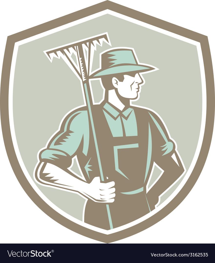 Organic farmer rake shield woodcut retro vector | Price: 1 Credit (USD $1)