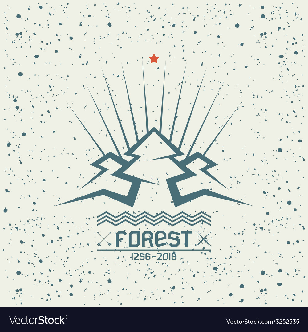 Pine forest emblem vector | Price: 1 Credit (USD $1)