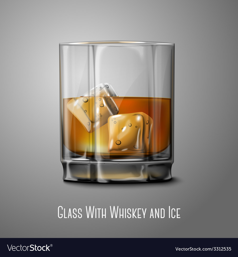 Realistic glass with smokey scotch whiskey and ice vector | Price: 1 Credit (USD $1)