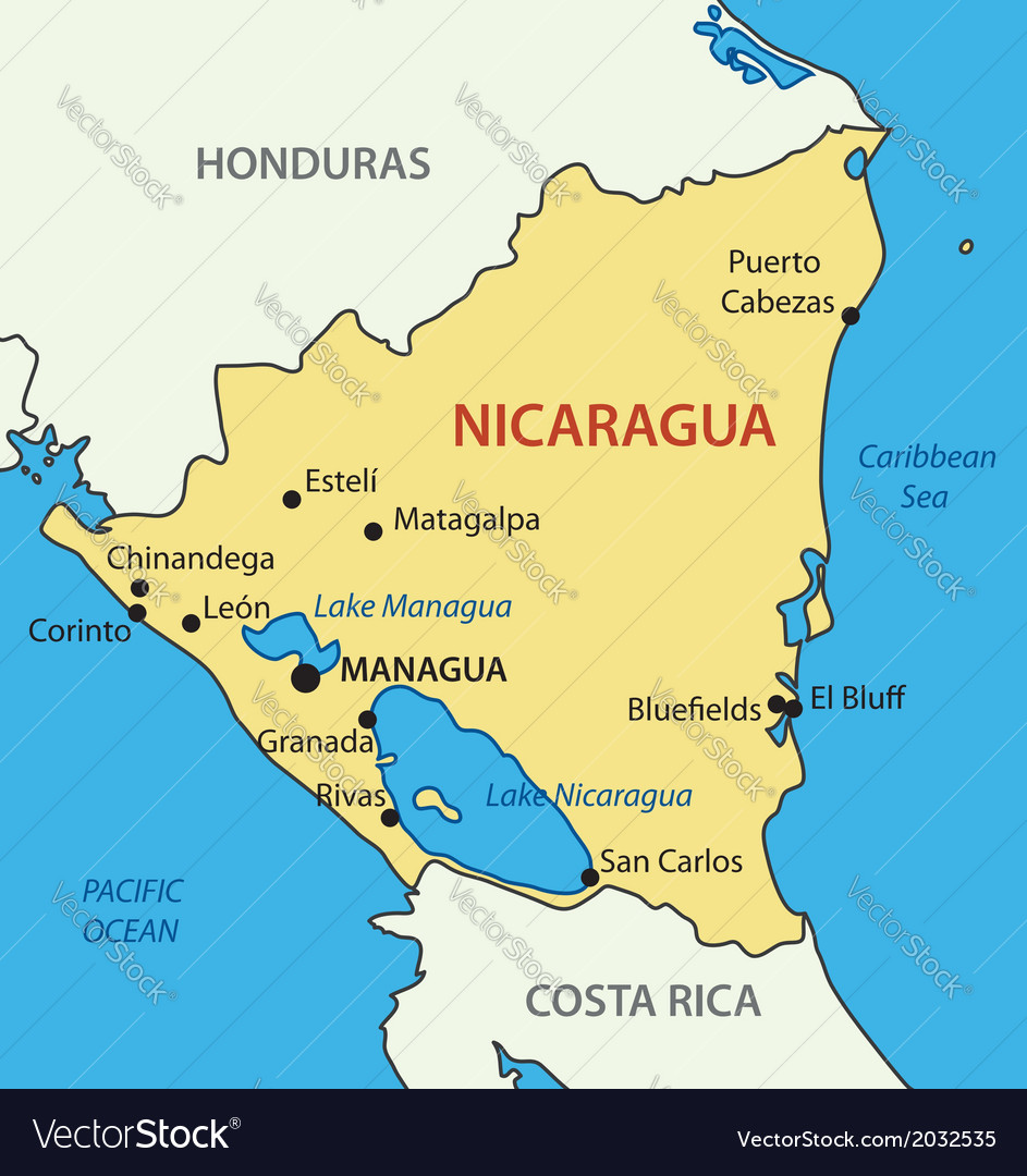 Republic of nicaragua - map vector | Price: 1 Credit (USD $1)