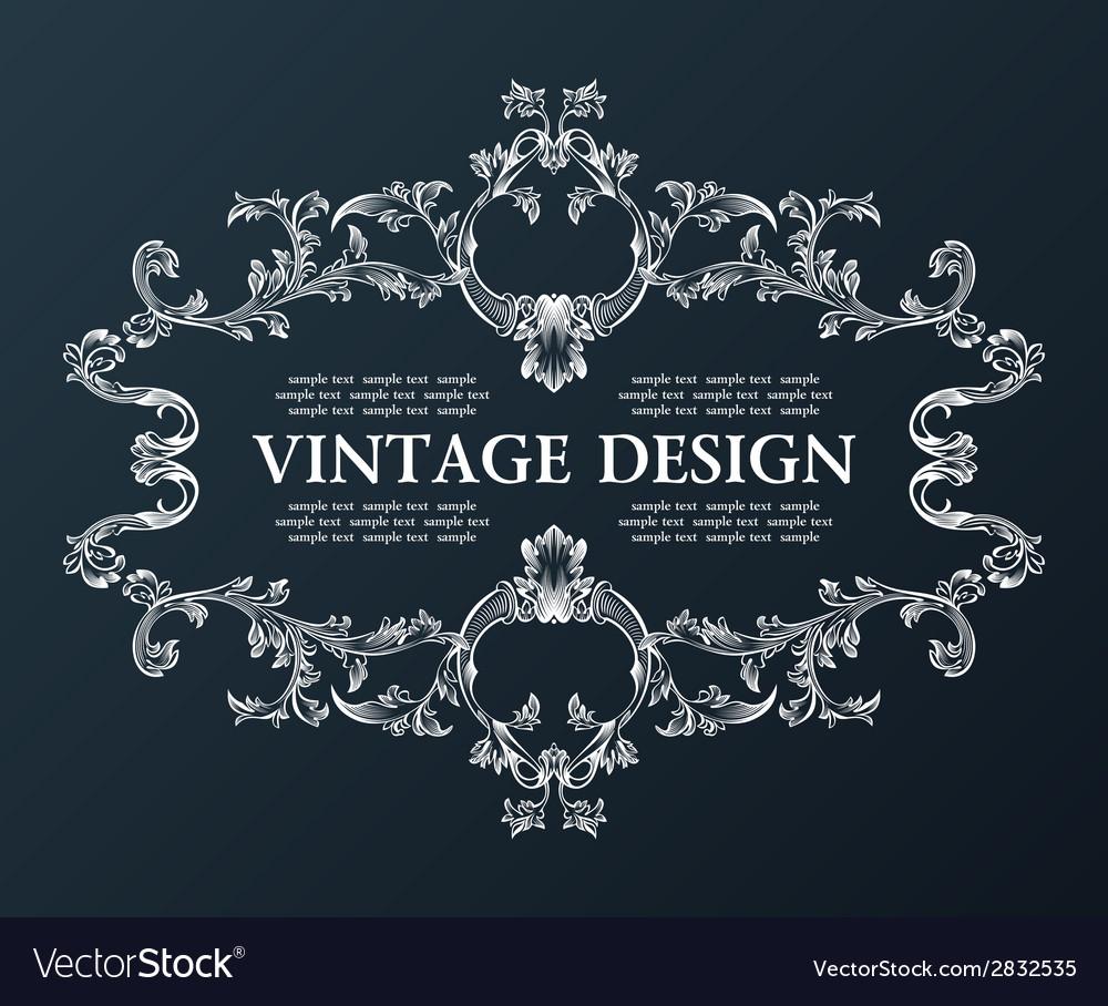 Vintage royal old frame ornament decor black vector | Price: 1 Credit (USD $1)