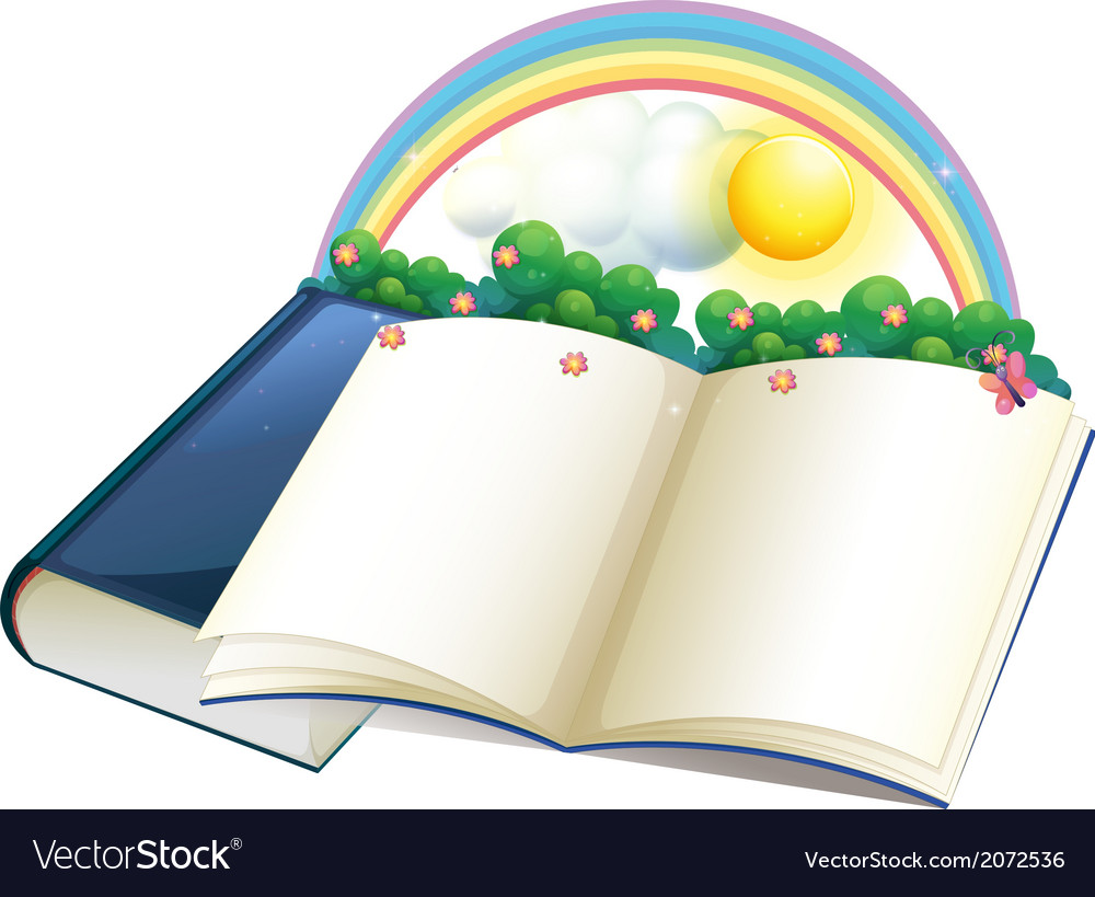 A storybook with a rainbow and plants vector | Price: 1 Credit (USD $1)